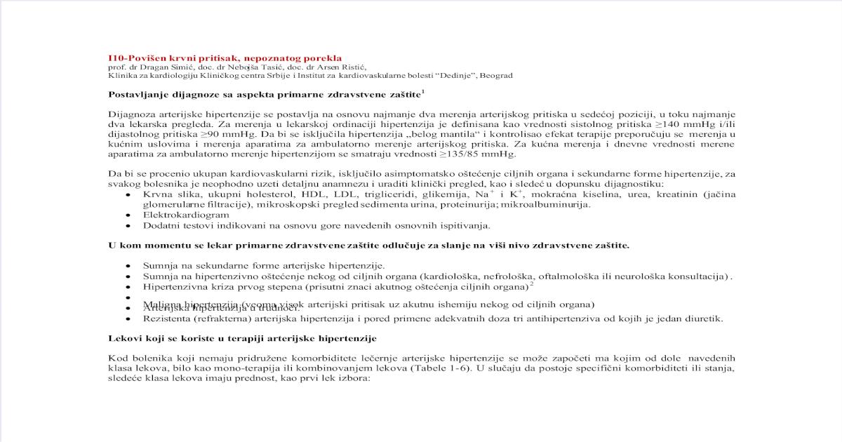 Standardi primarne zdravstvene zaštite za hipertenziju