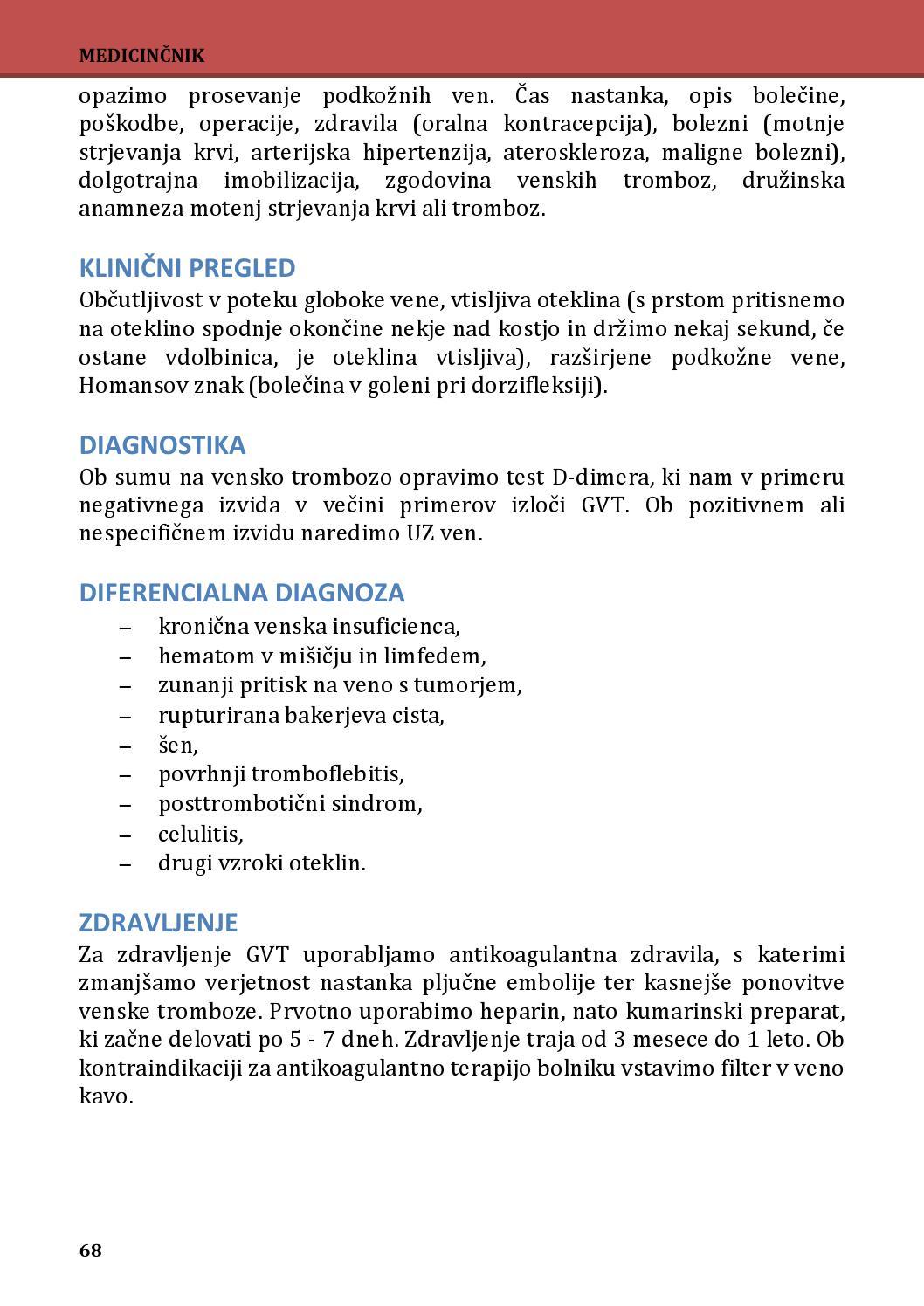 tromboflebitis, hipertenzija
